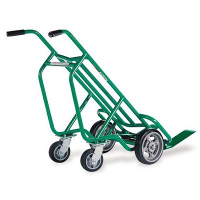 Four-Wheel Deep Frame Pallet Hand Truck, Steel Frame, Replaceable Solid Tires